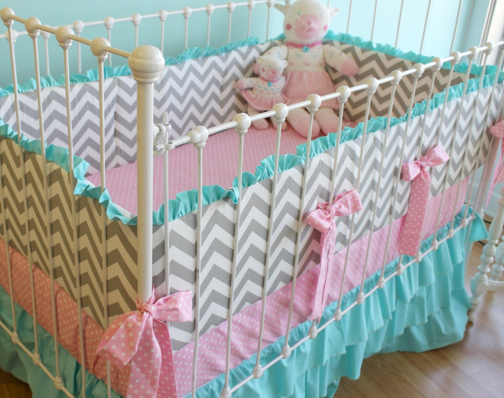 Baby girl bedding chevron -  Chevron Baby Bedding Add To Wishlist Loading