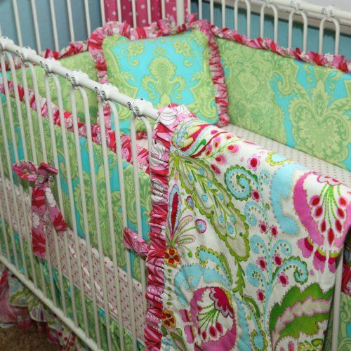 Whimsical Garden Ruffle Trim Blanket and Set