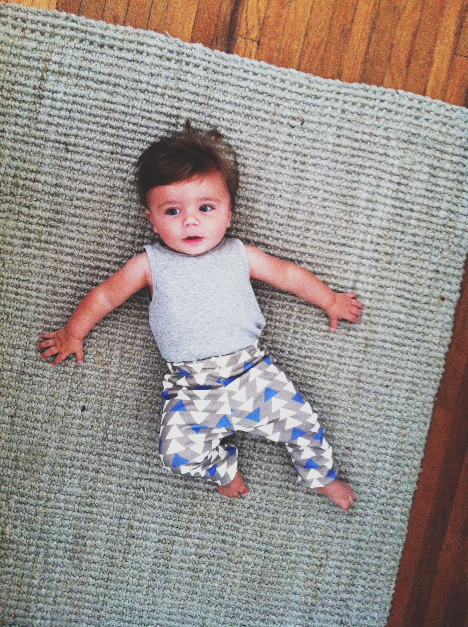 Blue Triangles Organic Baby Leggings Lottie Da Baby