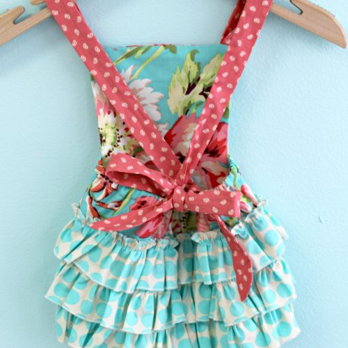 turquoise and coral romper back