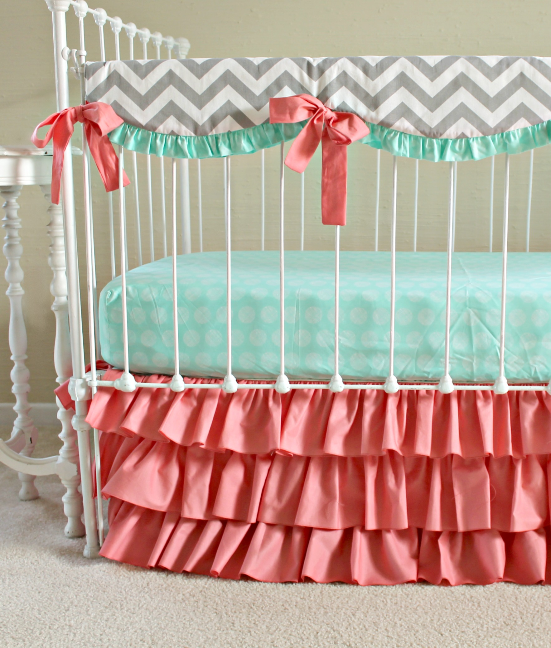 Fitted Crib Sheet For Grey Coral And Mint Woodland Arrow