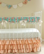 Bumperless Peach and Mint Crib Bedding