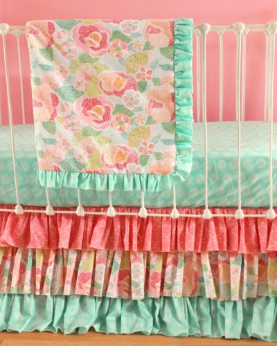 Mint Floral blanket set