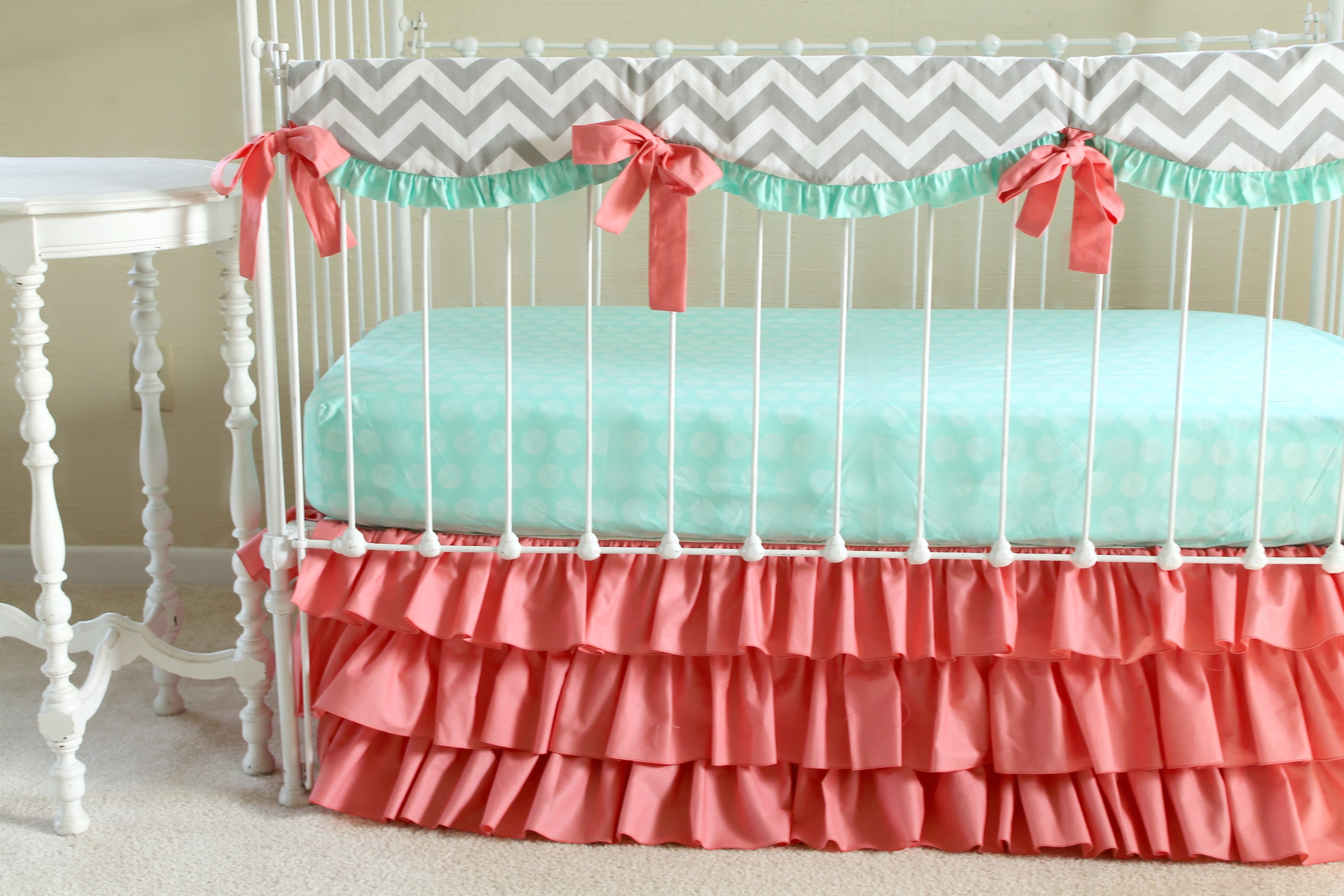 target image nursery girl lostcoastshuttle baby accessories bed and set bedding of coral chevron crib