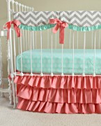 bumperless mint and coral crib set