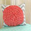 coral grey pillow