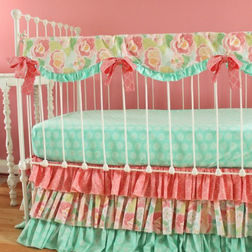 Mint floral Teething Rail Cover