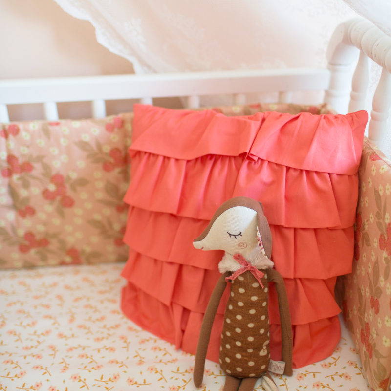 Coral Ruffle Pillow