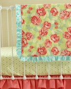 Coral Tumbling Roses Blanket