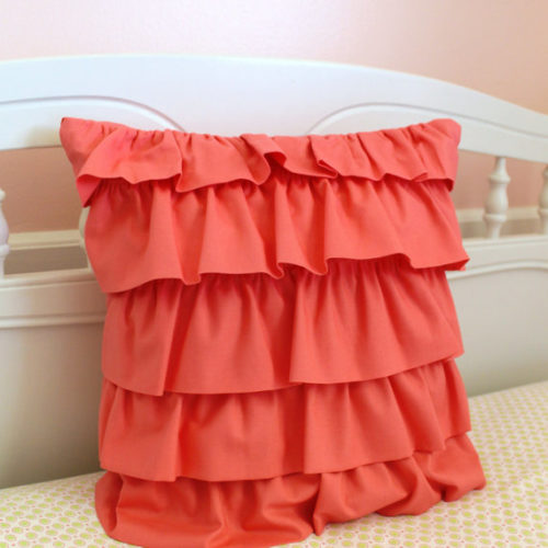 Coral Layered Ruffle Pillow