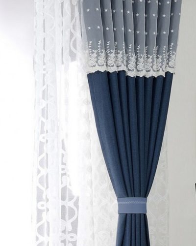 Lace Top Navy Curtain Panels