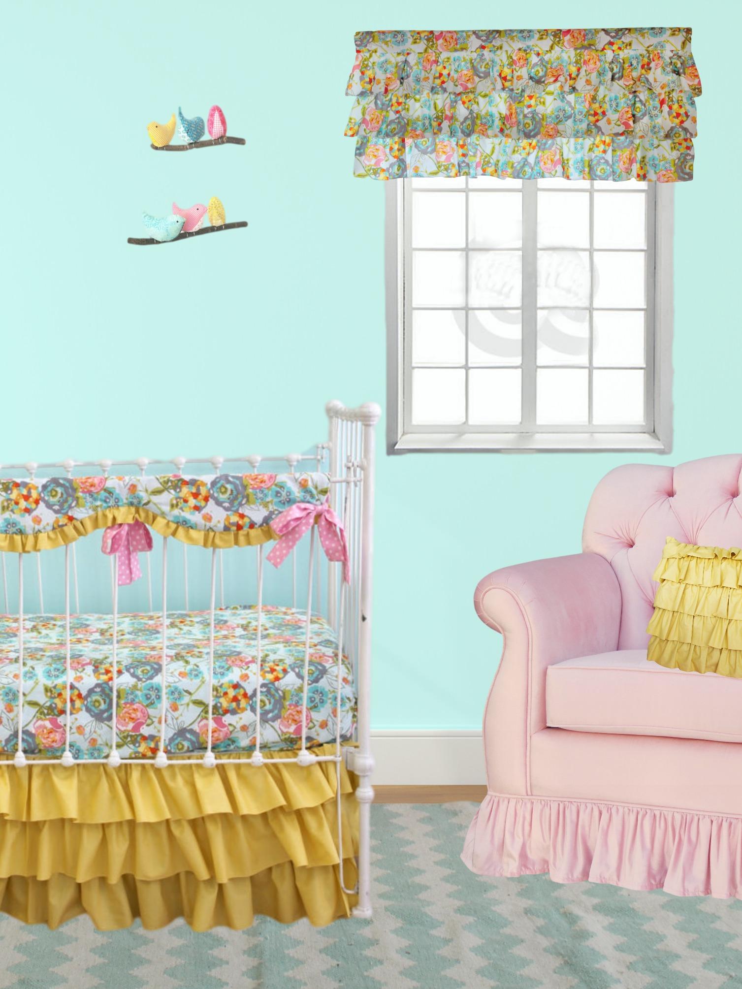 Lily Belle Yellow Bumperless Baby Bedding - Lottie Da Baby