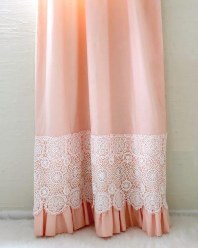 peach crochet curtannnins