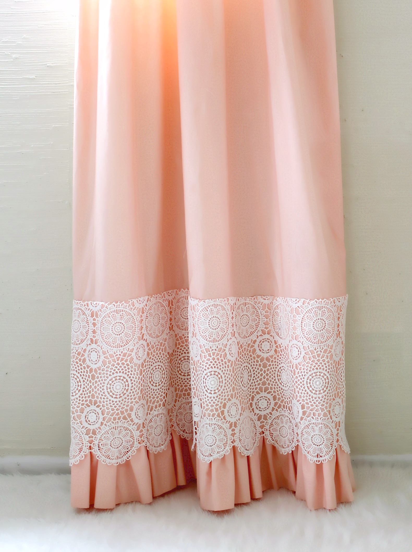 Crochet Lace Peach Curtain Panels 1 Pair Lottie Da Baby