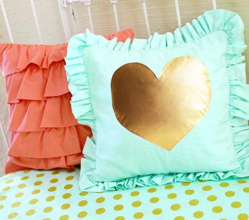 Mint and Metallic Gold Heart Pillow
