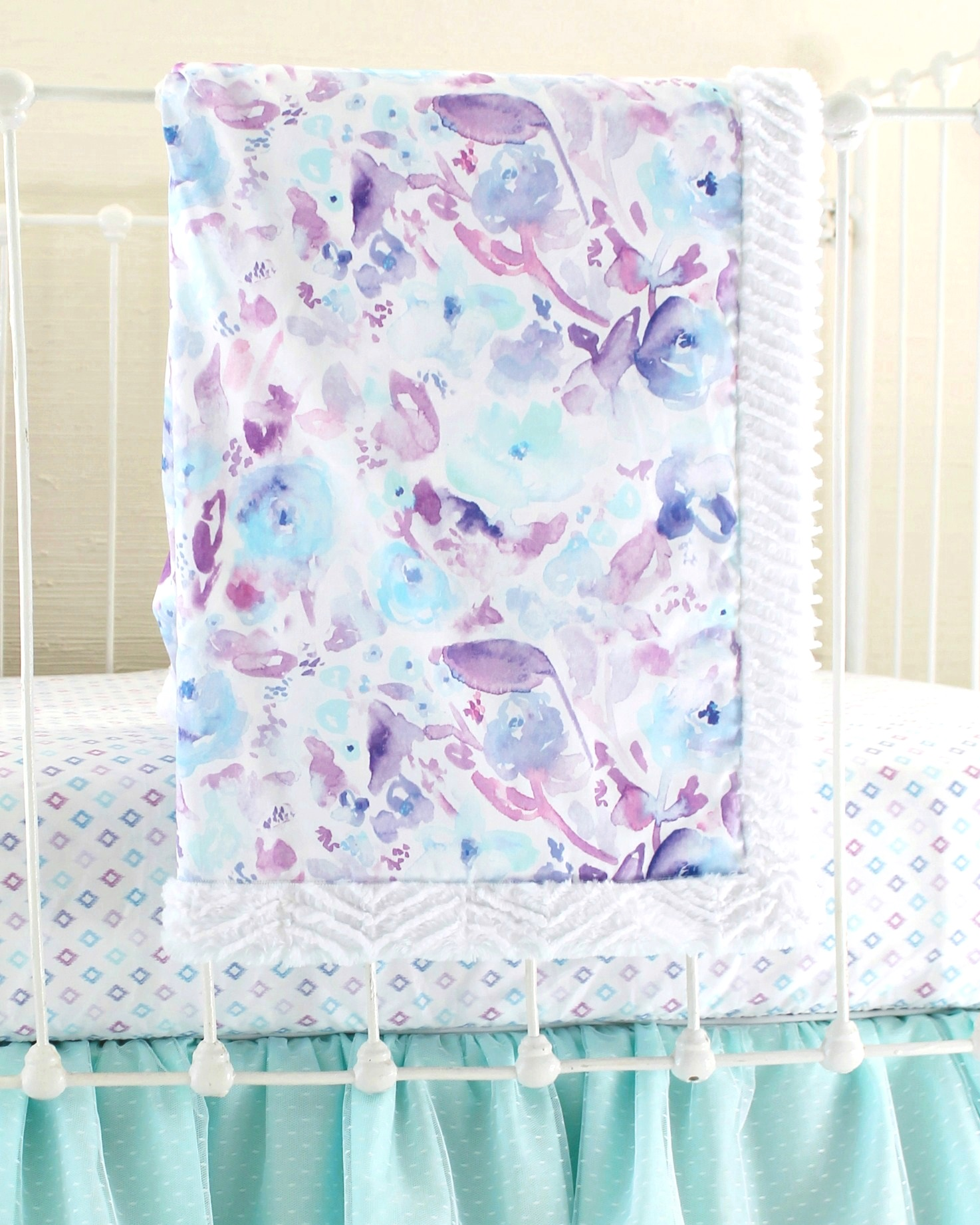 Purple Watercolor Floral Baby Blanket Lottie Da Baby