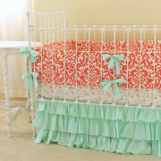 Mint and Coral Damask