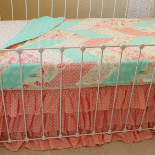 Reminisce Herringbone Peach and Mint Quilt Cover