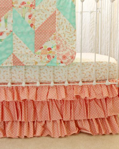 Reminisce Herringbone Peach and Mint Quilt Crop