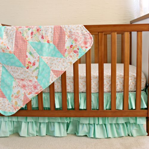 Reminisce Herringbone Peach and Mint Quilt Drape