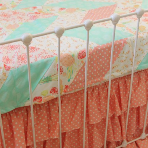 Reminisce Herringbone Peach and Mint Quilt Zoom