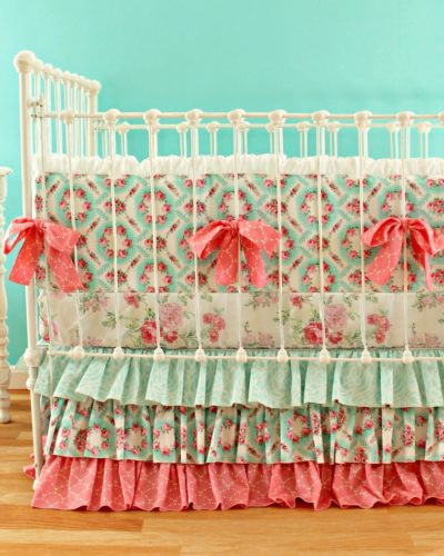 Primrose Garden Bumper Set with Pink Floral Sheet