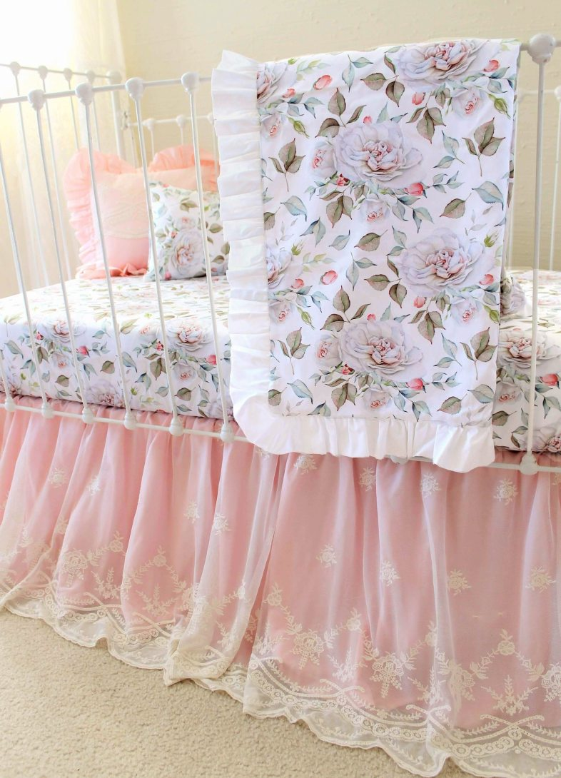 Blush Pink Crib Bedding Baby Girls Farmhouse Nursery