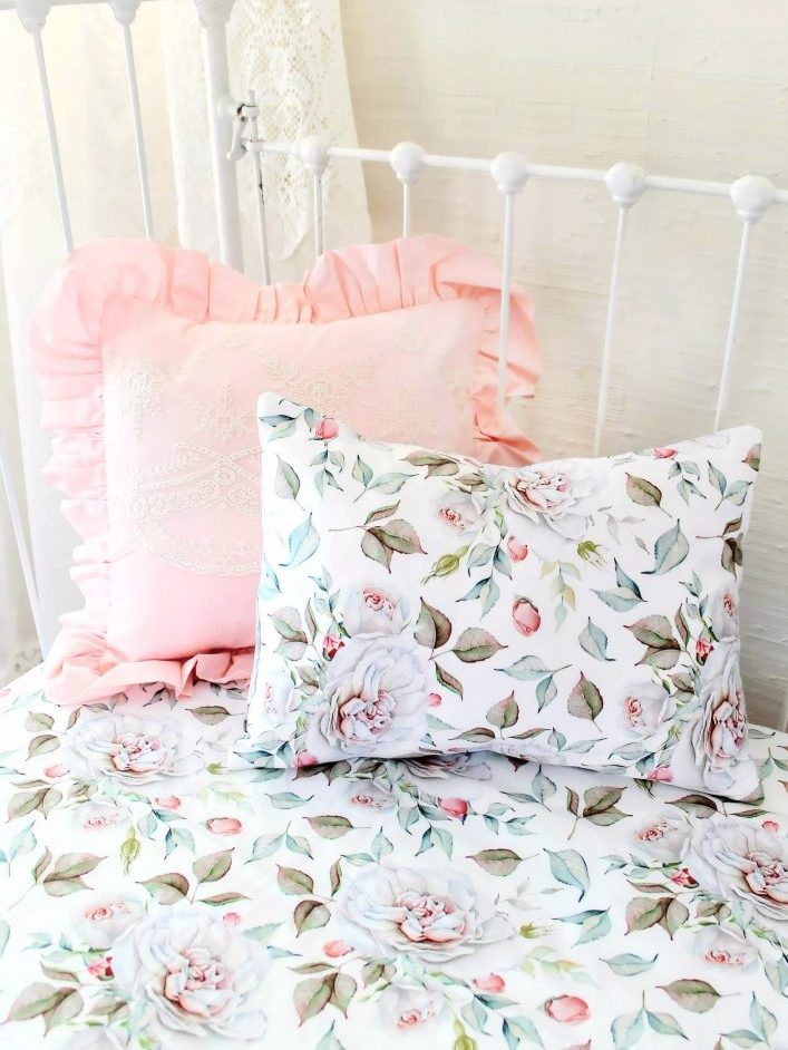 Blush Pink Farmhouse Nursery Girls Floral Baby Bedding