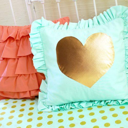 Mint Gold Heart PIllow