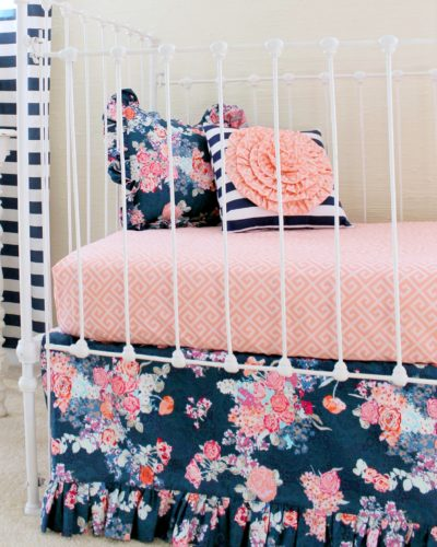 navy floral bumperless crib set
