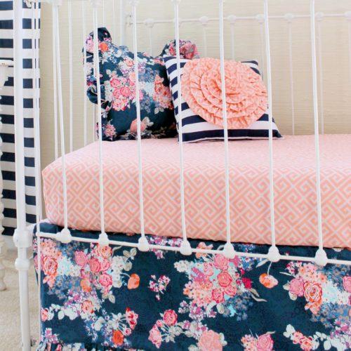 navy floral bumperless crib set
