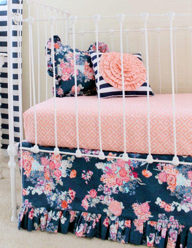 Navy Floral Crib Bedding Set