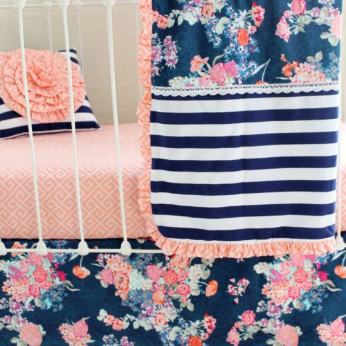 Blush Pink And Navy Baby Bedding Set Lottie Da Baby