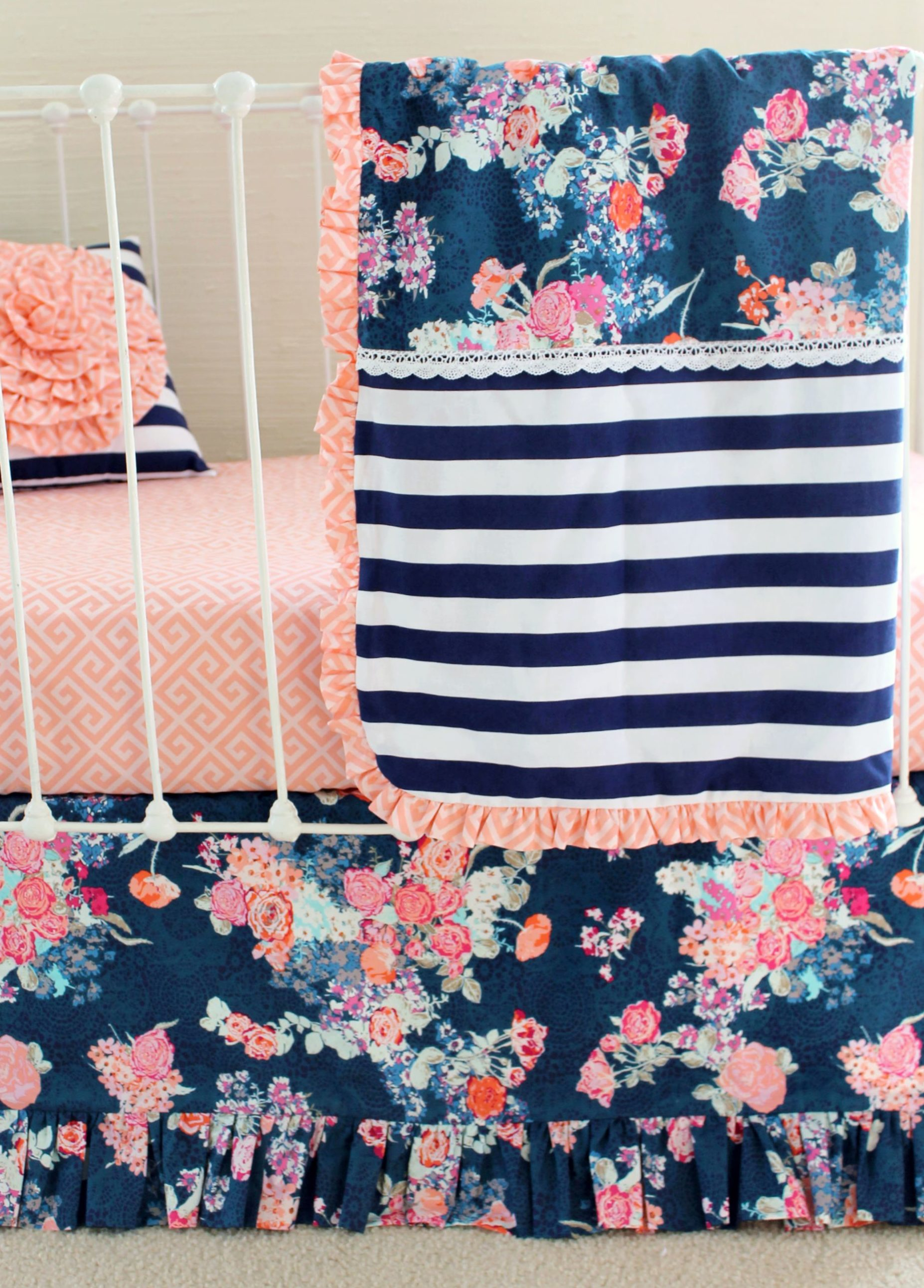 Baby Boy Nursery Bedding: Navy Floral Coral Bumperless