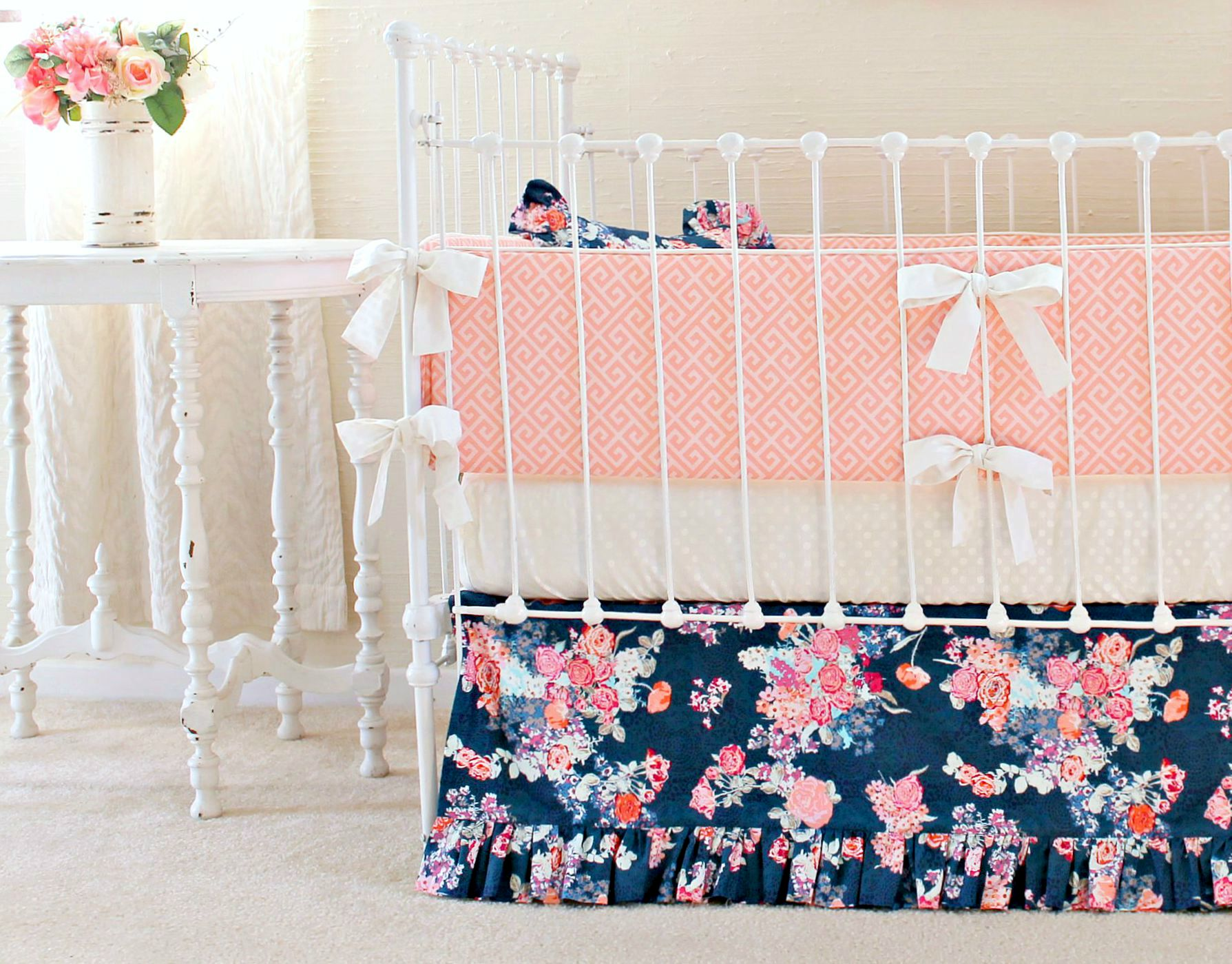 Navy Coral Crib Bedding Set Navy Floral Coral Bumperless
