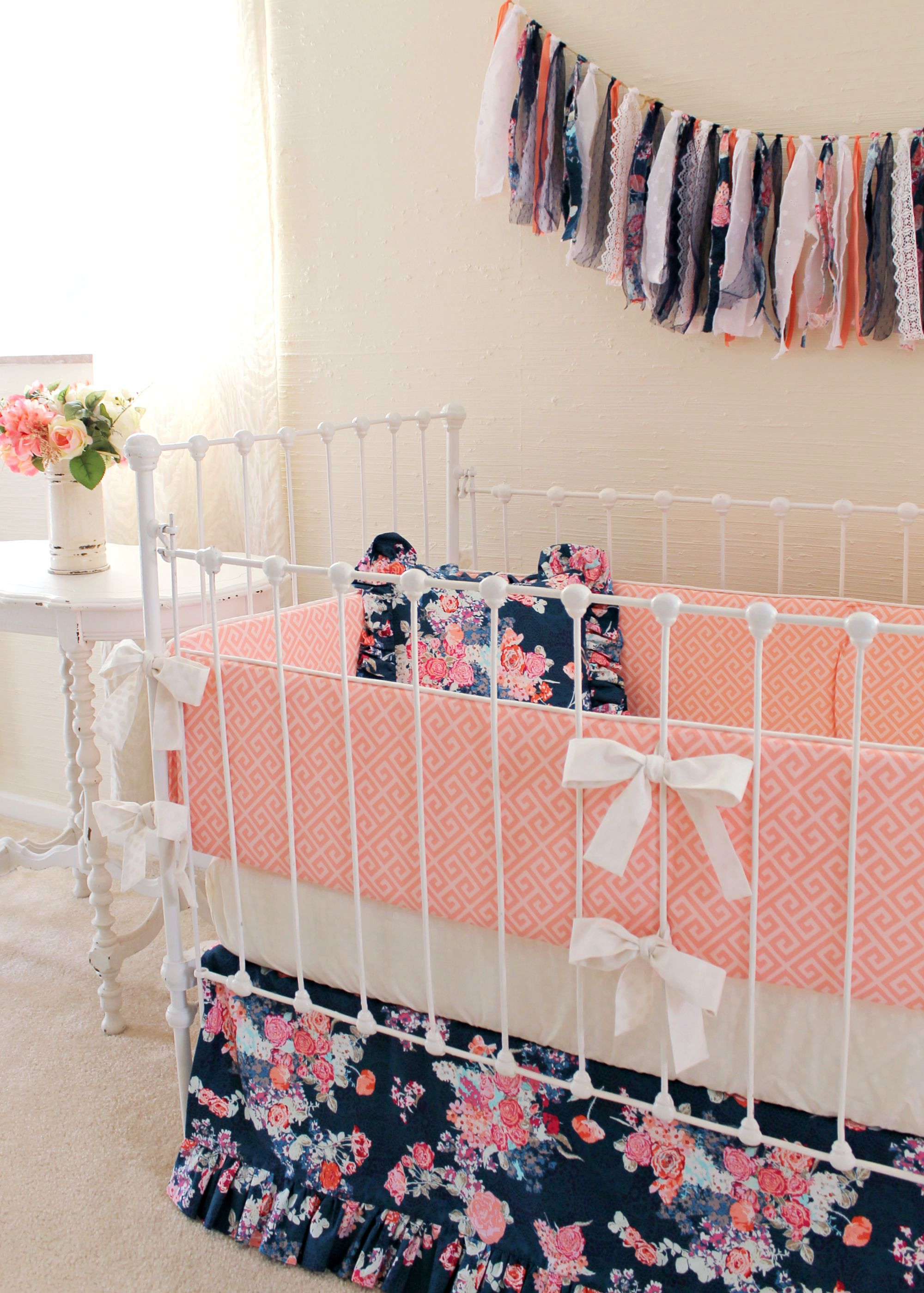 Famous Navy Coral Crib Bedding Set | Navy Floral Coral Bumperless Set  ZN59