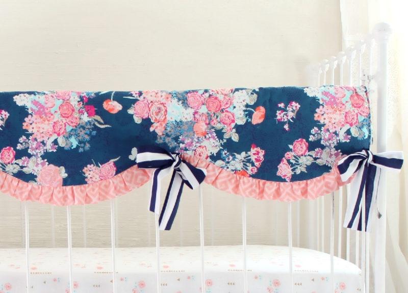 Navy floral crib rail cover