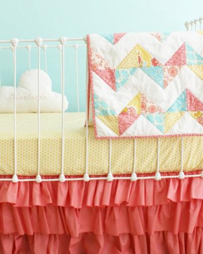 Coral Chevron Baby Quilt set