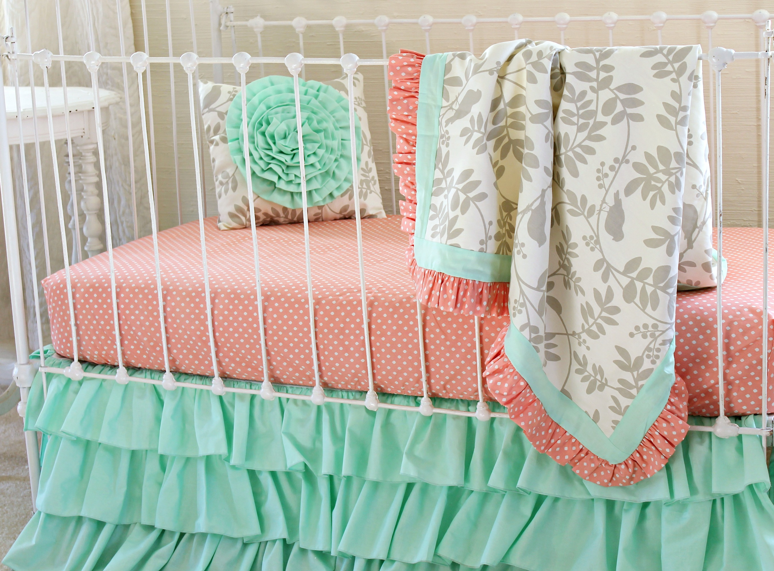 set bedding peach uptown girl crib cribs