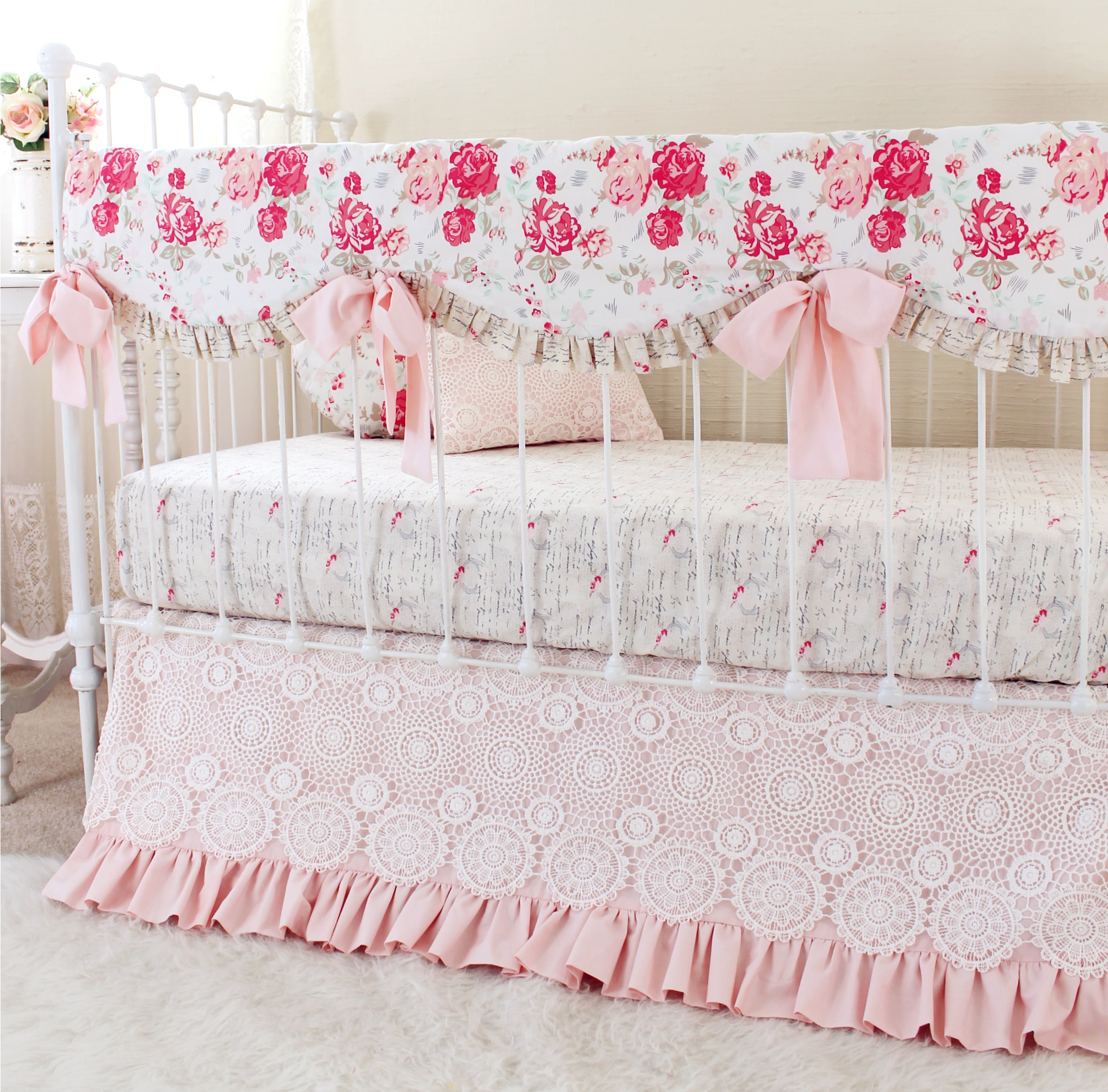 Vintage Chic Pink Rail Cover Bumperless Bedding Lottie
