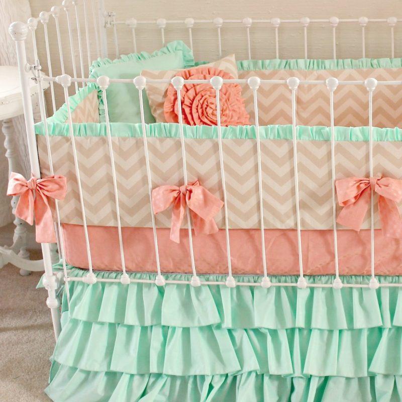 Mint Sorbet Chevron Crib Bedding