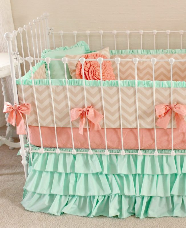 Mint Sorbet Chevron Crib Bedding