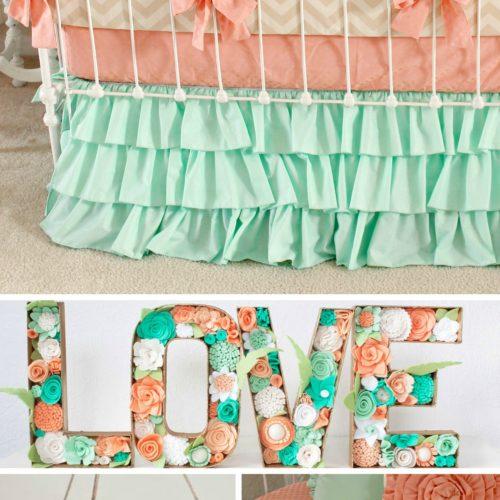 mint peach nursery collage