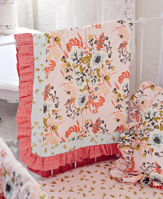 Blush Nursery With Neutral Textures: Blush Pink Floral Bumperless Baby Bedding Set