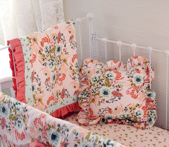 Blush Floral Baby Crib Bedding Set Farmhouse Chic