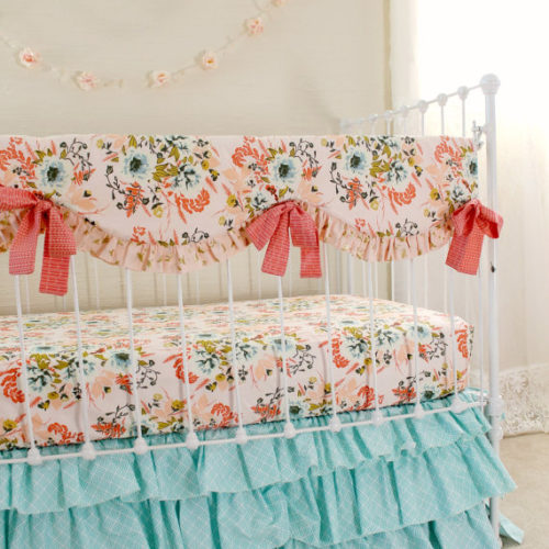 Blush Pink Floral Bumperless Baby Bedding Set Lottie Da