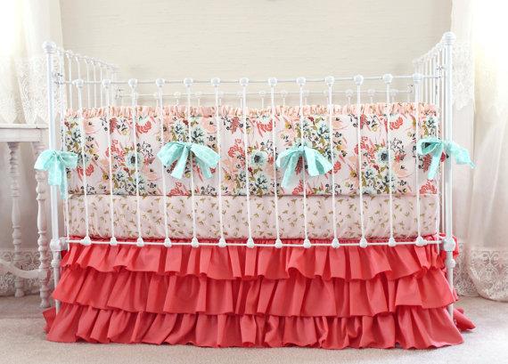 Blush Floral Baby Crib Bedding Set Farmhouse Chic Nursery