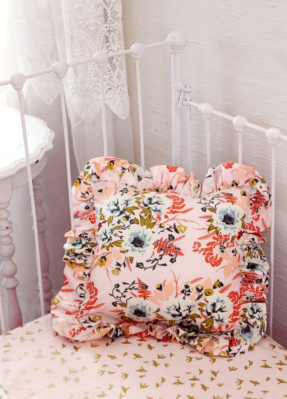 Blush Pink Floral Bumperless Baby Bedding Set Lottie Da Baby