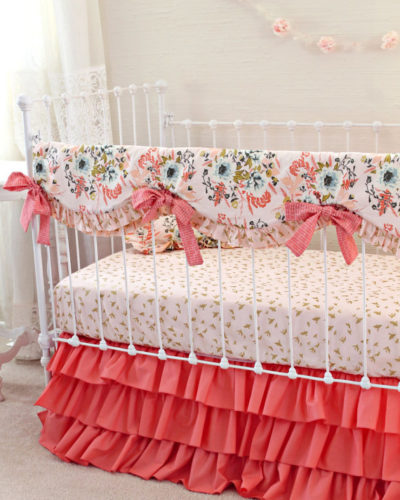 Blush Pink Floral Bumperless Crib Bedding Set