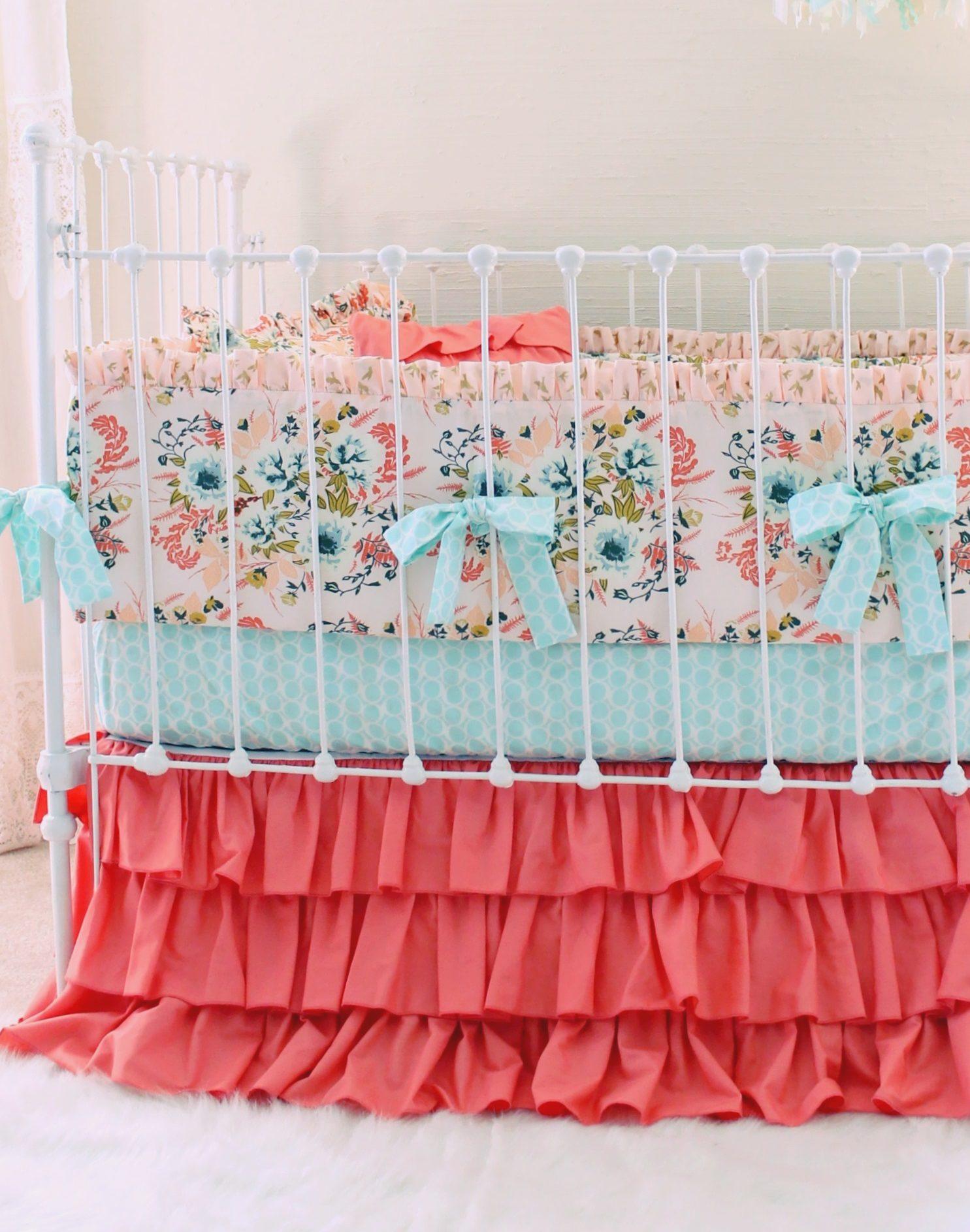 Blush Floral Baby Crib Bedding Set Farmhouse Chic